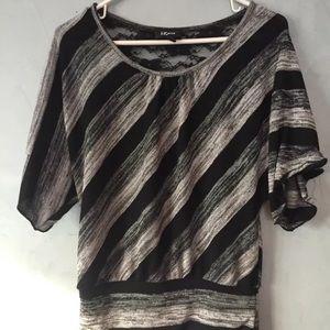 IZ Byer Medium Grey Black Striped Dolman Top